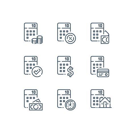 Financial accounting services, expenses calculation, loan payment, home budget, house mortgage, estate cost, debt refinance, calculator and coins, vector line icon set