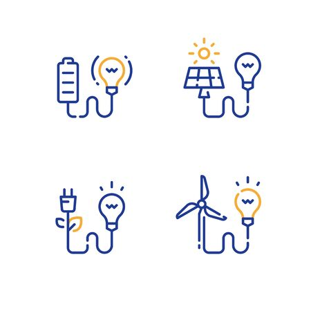 Alternative energy concept, green electrical technology, solar panel, wind turbine, battery and light-bulb, electricity generating, vector line icon set