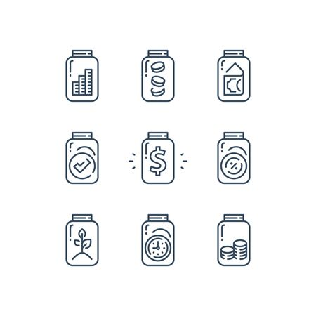 Pension fund, saving money for future, financial security, budget planning, glass jar and money, coin stack, fundraising or donation concept, vector line icon set
