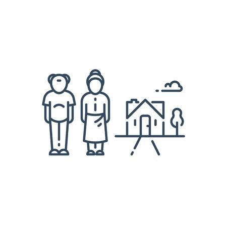 Retired old people, senior couple and summer house, residential building, vector line icon 向量圖像