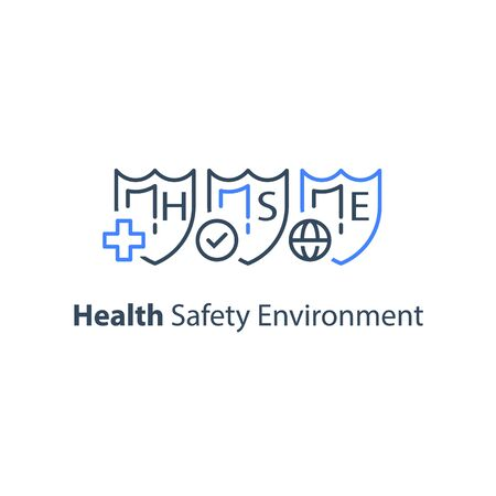 HSE concept, health safety environment, occupational safety and health administration, medical insurance, three shields, vector line icon set Foto de archivo - 134947865