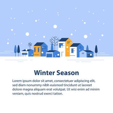 Winter season in small town, tiny village view, snowy sky, row of residential houses, beautiful neighborhood, real estate development, vector flat design illustration