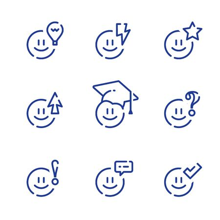 Emoticon and education, preschool learning and preparation, fun study, knowledge concept, vector line icon set