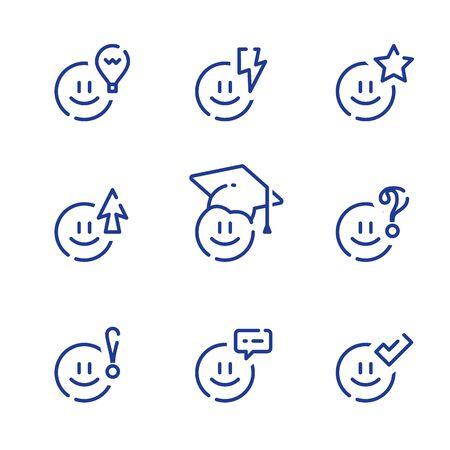 Emoticon und Bildung, Vorschulerziehung und -vorbereitung, Spaßstudium, Wissenskonzept, Vektorlinien-Icon-Set