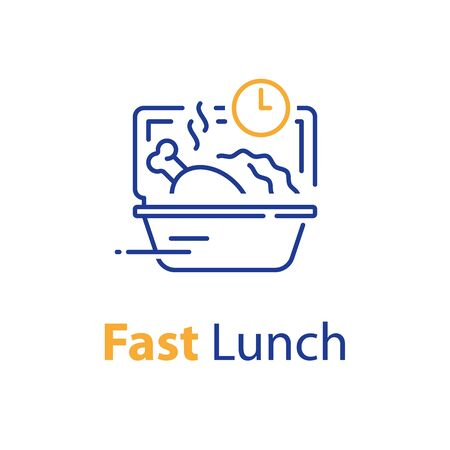 Fast lunch, ready to eat, food delivery, take away order, quick meal, open box and clock, vector line icon, linear design illustration Stock Illustratie