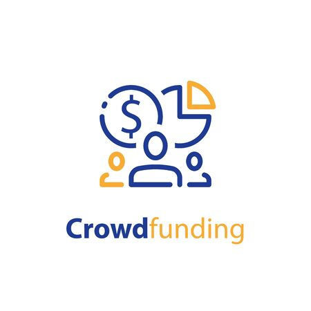 Stakeholder concept, business investor, mutual fund, financial supply, fundraising or crowdfunding, social support, vector line icon