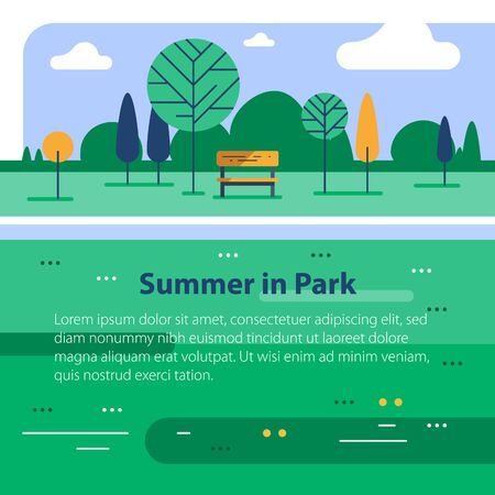Summer time in green park, small bench and tree at river bank, calm weather, beautiful view, vector flat design illustration