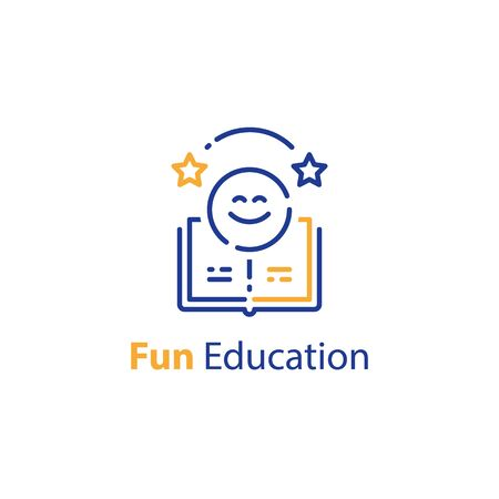 Emoticon and open book, education concept, fun learning, preschool preparation, fast course for beginner, vector outline icon