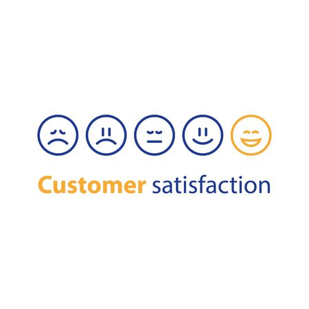 Emoticon in a row, rating concept, customer service, feedback survey, vector flat illustration