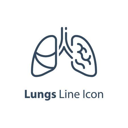 Human internal organ, healthy lungs, respiratory illness, vector line icon, linear design illustration Stock Vector - 134947898