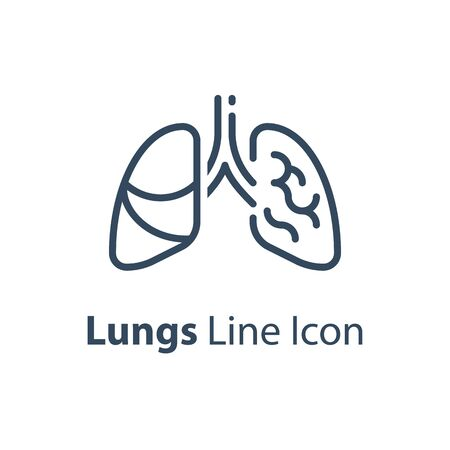 Human internal organ, healthy lungs, respiratory illness, vector line icon, linear design illustration