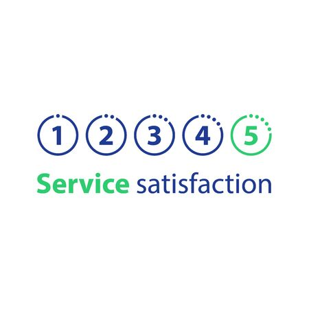 Numbers from one to five in circles in a row, rating concept, customer service, feedback survey, vector flat illustration