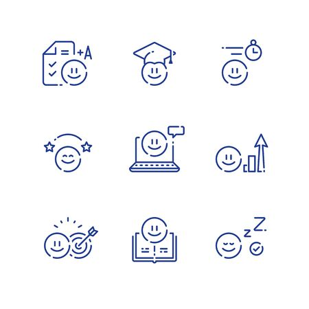 Emoticon and education concept, fun learning, study for exam or test, preschool preparation, fast course for beginner, online class, simple tutorial, vector outline icon set