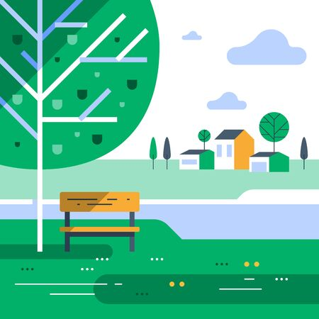 Summer time in green park, small bench and tree at river bank, calm weather, beautiful view, group of residential houses in background, nice neighborhood, vector flat design illustration
