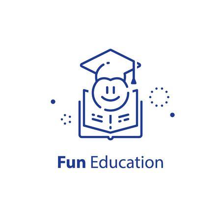Emoticon in graduation cap, education concept, fun learning, preschool preparation, fast course for beginner, vector outline icon Çizim