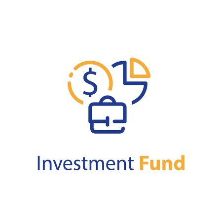 Stakeholder concept, business investor, financial supply, own company share, investment portfolio, earn money, stock market, vector line icon