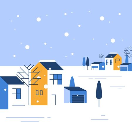 Winter season in small town, tiny village view, snowy sky, group of residential houses, beautiful neighborhood, real estate development, vector flat design illustration