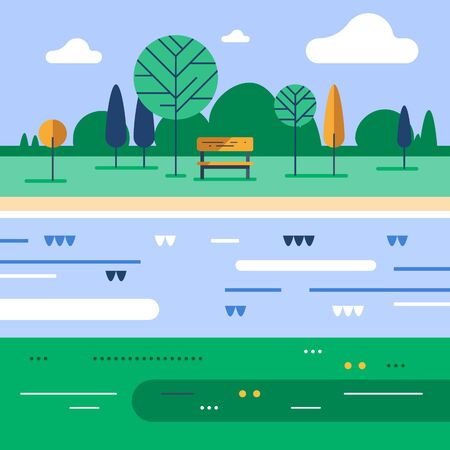 Summer time in green park, small bench and tree at river bank, calm weather, beautiful view, vector flat design illustration 矢量图像
