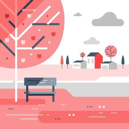 Autumn park scene, small bench at river bank, romantic place, beautiful view, nice neighborhood, vector flat design illustration 矢量图像