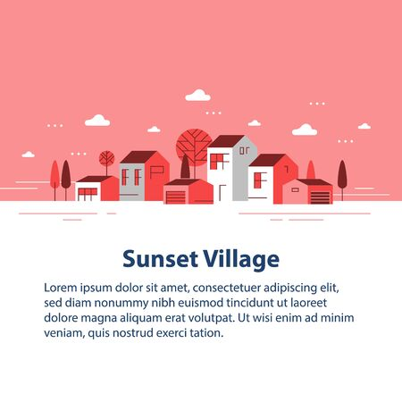 Autumn season in small town, tiny village view, row of residential houses, beautiful neighborhood, real estate development, vector flat design illustration