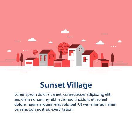 Stagione autunnale in una piccola città, vista su un piccolo villaggio, fila di case residenziali, bel quartiere, sviluppo immobiliare, illustrazione vettoriale di design piatto