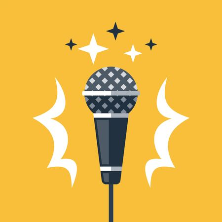 Dynamic microphone, open mic comedy stand up, performance event, live music, karaoke, master of ceremonies or emcee, talk show, podcast or broadcast, sound recording studio, vector flat illustration 일러스트