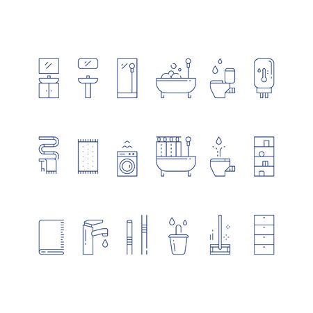 Bathroom furniture, bath curtains, toilet and bidet, water heater tank, floor map and bucket, vector line icon set