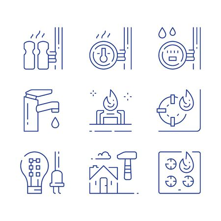 House services, electricity efficient light-bulb, water faucet, central heating, resources consumption meter, gas stove burner, home repair and maintenance, vector line icon set Vectores