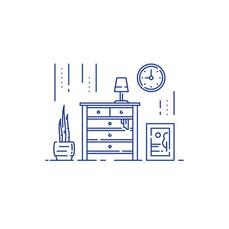Living room, home furniture, interior design, minimal stile, chest of drawers, vector line illustration Illustration