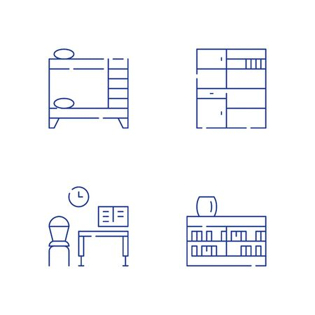 Children room furniture, bunk bed, desk and chair for home work, bookshelf and cupboard, vector line icon set