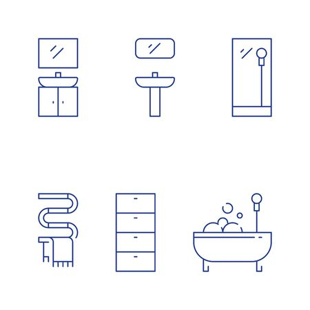 Bathroom furniture, bath with foam, washing stand with mirror, hot water tube, vector line icon set 일러스트