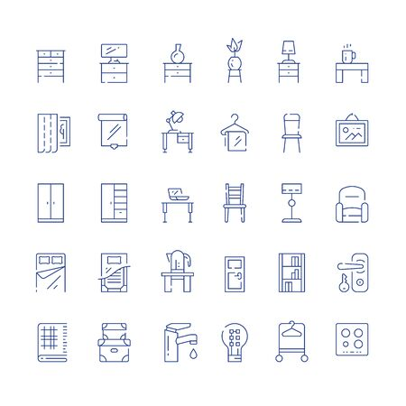 Home furniture, minimalist concept, interior design, cloth storage system, cupboard and table with chair, accessories and decoration, vector line icon set