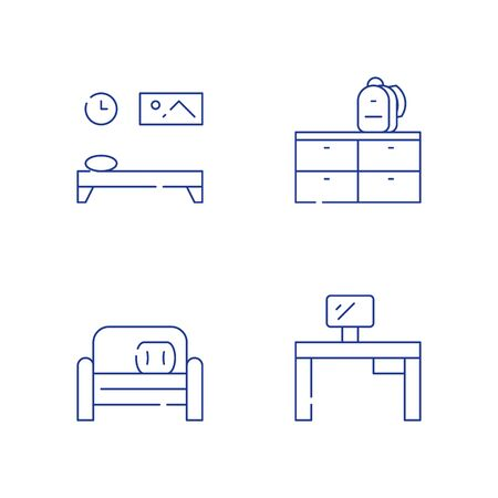 Children bedroom furniture, desk and monitor home work, small couch, backpack and dresser, vector line icon set Illustration