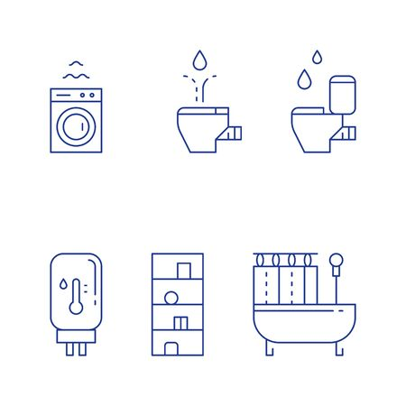 Bathroom objects, bath curtains, toilet and bidet, water heater tank, washing machine, vector line icon set 일러스트