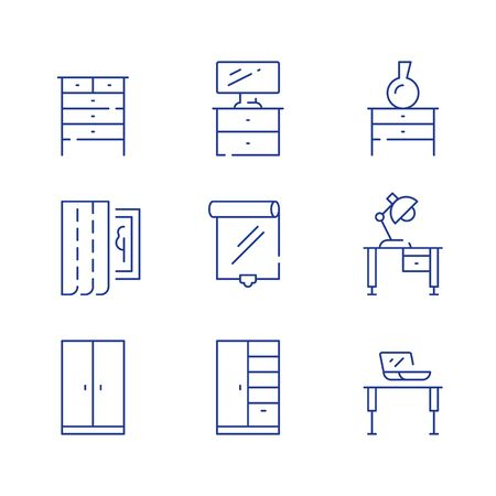 Home furniture, minimalist concept, interior design, cloth storage system, cupboard and table with lamp, window curtains, roller blind, vector line icon set Illustration