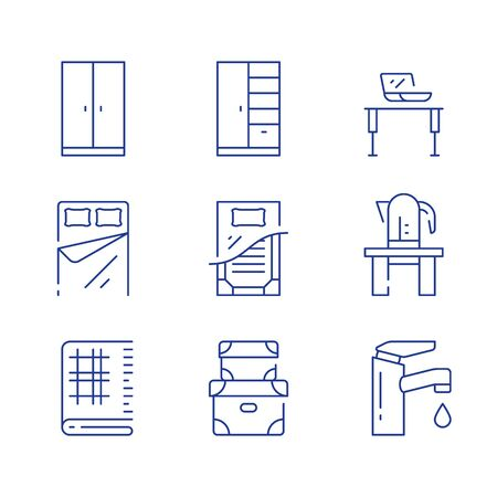 Home furniture, minimalist concept, interior design, cloth storage system, cupboard and table with kettle, cloth for decor, bed sheets, vector line icon set