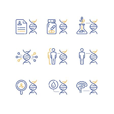 Genetics concept, science research, glass tube bio sample growth, human brain and DNA, data and analysis, vector line icon set Illustration