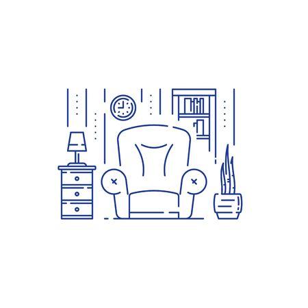 Living room, home furniture, interior design, minimal stile, big empty armchair, vector line illustration