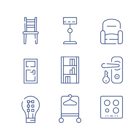 Home furniture, minimalist concept, interior design, chair and armchair, door and lock with key, accessories and decoration, standard lamp and LED light-bulb, vector line icon set