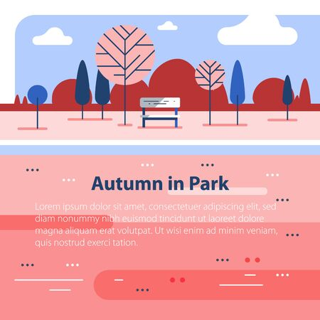 Autumn park scene, small bench at river, romantic place, beautiful view, vector flat design illustration