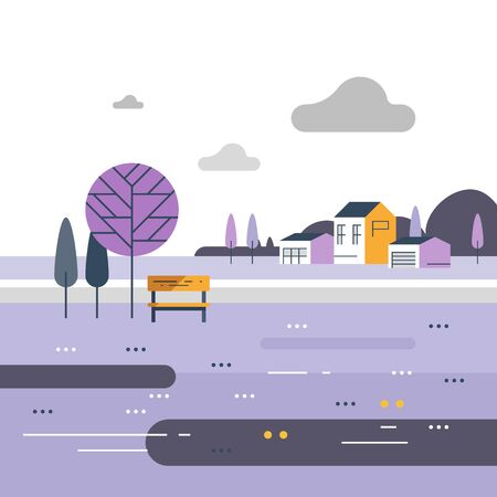 Countryside concept, small bench at river, beautiful view, nice neighborhood, vector flat design illustration