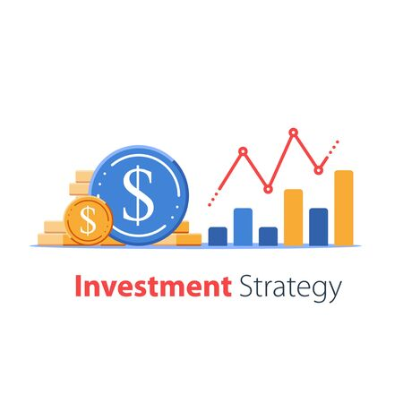 Revenue increase, high interest rate, income growth, budget profit, financial fund growth, raise capital, more money graph, investment portfolio, vector flat illustration