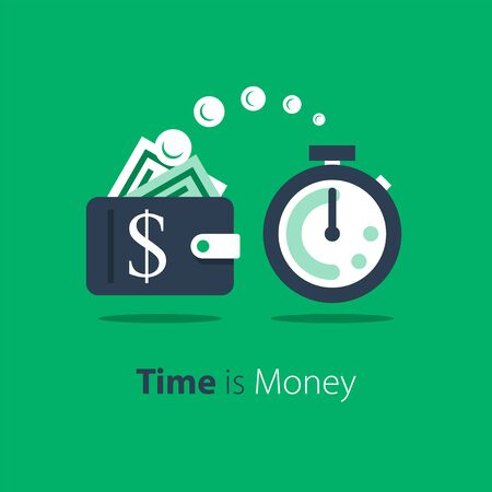Cash back, wallet with dollar sign and stopwatch, easy loan, instant payment