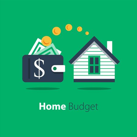 Mortgage loan, household expenses, real estate investment, house rental, property purchase, home finance and budget, living cost, vector flat illustration Vettoriali