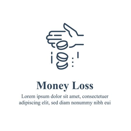 Money loss, sunken cost concept, financial debt, expenses growth, economy crisis, home budget management, less revenue, income protection, insurance and security, credit payment, vector line icon