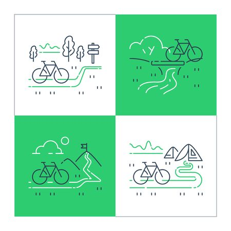 Outdoor cycling and camping concept, riding bicycle trip, nature tourism, summer tour, forest and mountain trail, ecological path, vector line illustration