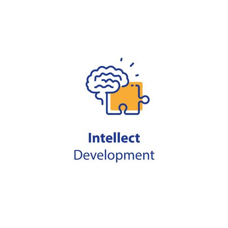 Brain and jigsaw, memory exercise, intellect development, logic game, skill improvement, critical thinking, vector line icon