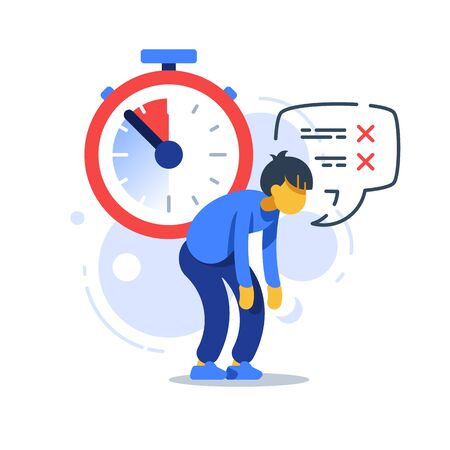 Time management, deadline clock, tired man, procrastination concept, vector flat illustration 向量圖像