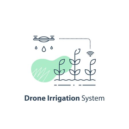 Drone irrigation management, crop monitoring, smart automation system, modern agriculture technology, agritech concept, harvest improvement, agricultural efficiency, vector line icon