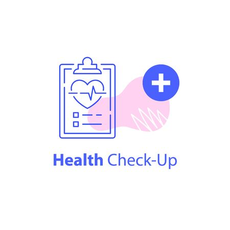 Annual health check up, cardiovascular examination, preventive medical program, heart disease prevention, fast analysis, sick leave, vector line icon